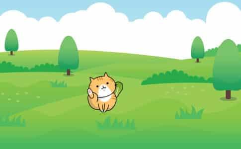 LINEスタンプの猫キャラクターは何かを始める準備をしている所