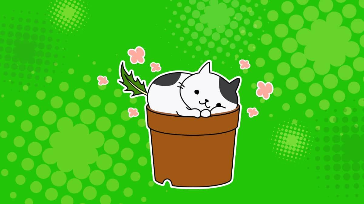 鉢の上でくつろぐ猫のオリジナルキャラクター