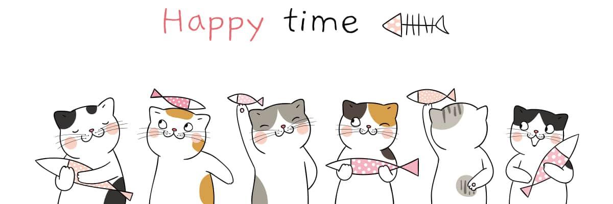 たくさんの猫たちが描かれたイラスト画像