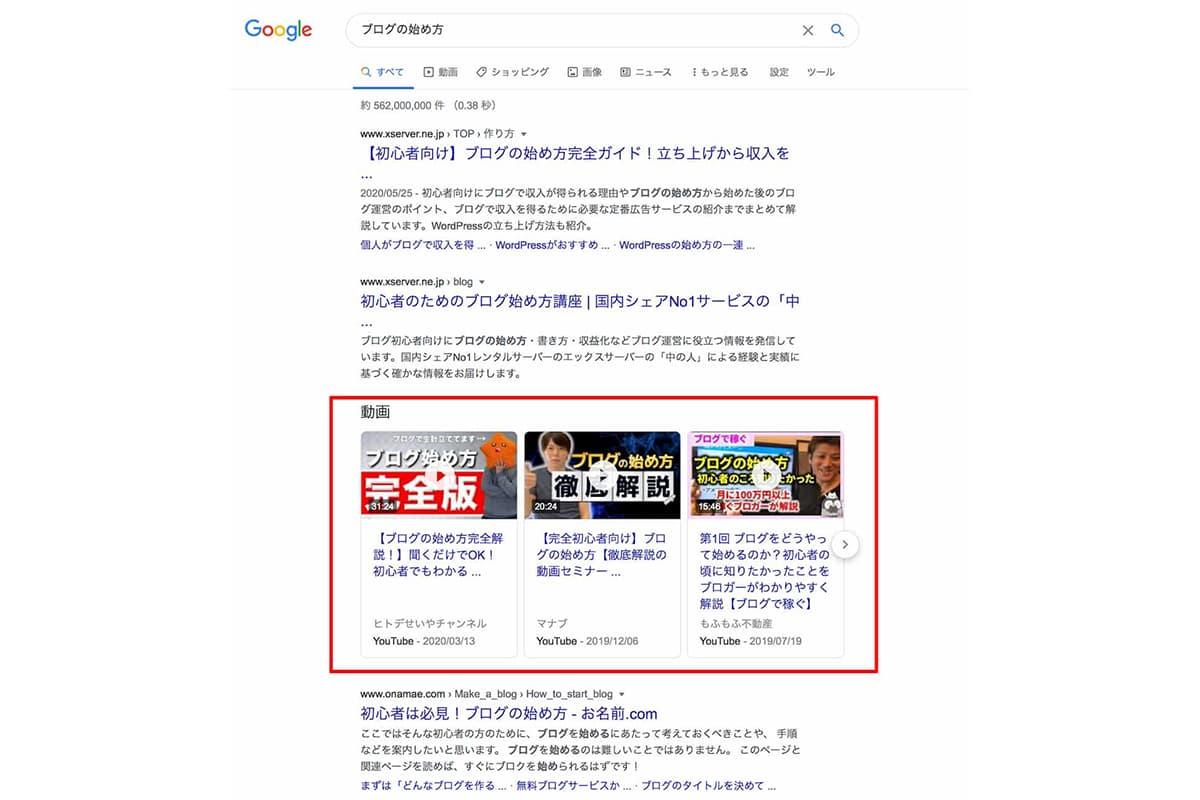 ブログの始め方をGoogleで検索した結果