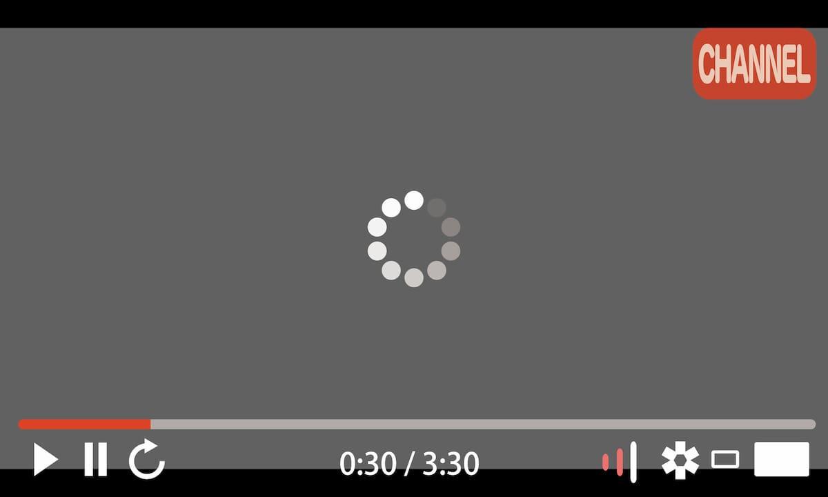 動画が配信された再生する時の画面のユーザーインターフェース