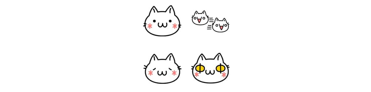 LINE絵文字の顔文字シリーズ猫バージョン