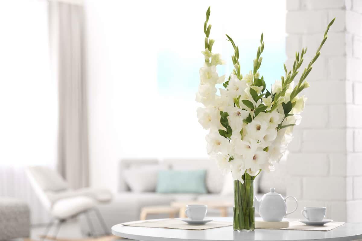 リビングにお花の定期便の白いお花を飾る